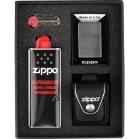 Set bricheta Zippo Chrome Brushed Black