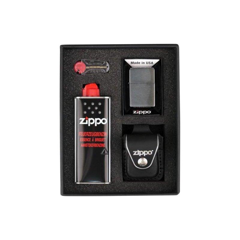 Set bricheta Zippo Chrome Brushed Black