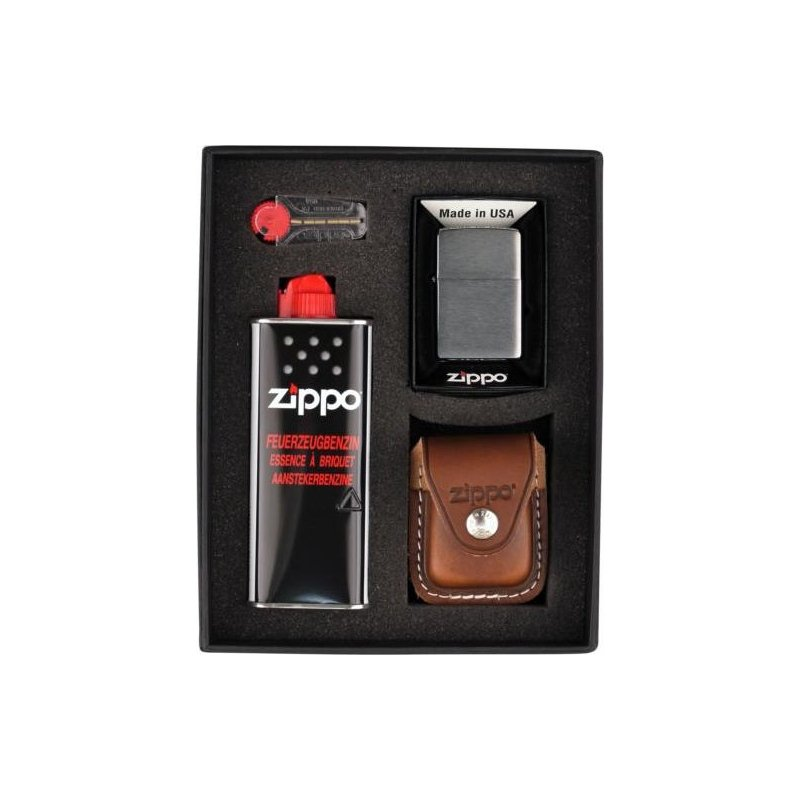 Set bricheta Zippo Chrome Brushed Brown