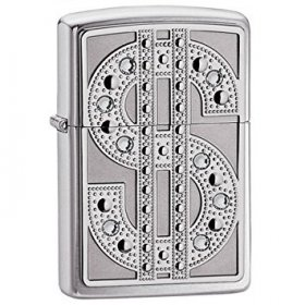 Bricheta Zippo Bling Emblem Polished Chrome Swarovski